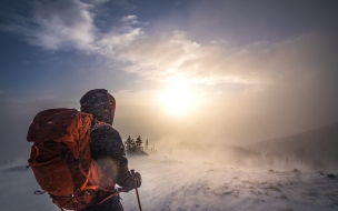 Sunrise winter hike up Mt. Elbert, Colorado