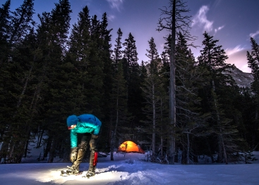 Winter camping near Black Lake and Mills Lake in Rocky Mountain National Park, Colorado