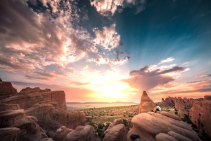 Sunset in Arches National Park, Moab, Utah