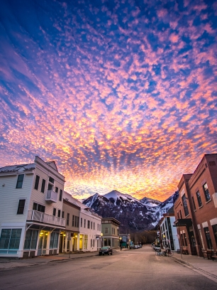 Sunrise near Main street in Telluride, Colorado